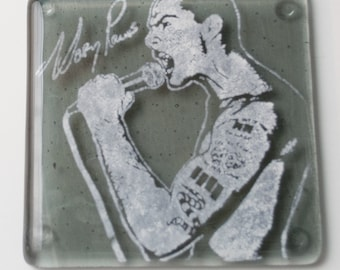 Henry Rollins Punk Rock Black Flag Singer Fused Glass Coaster Music Musician Activist Writer