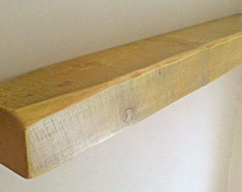 "Floating Shelf - Solid Pine - English Oak Wax - 6"" x 4"" Various Lengths** FREE UK DELIVERY **"