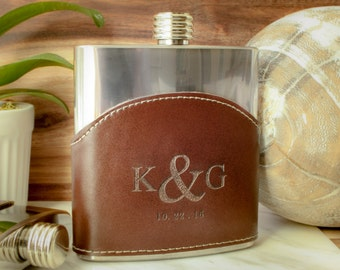 Genuine Leather Hip Flask, Personalized Leather Flask, Leather Wrapped Flask: Father of the Bride, Gift for Him, Valentine, Groomsmen Gift