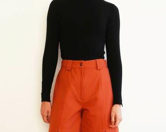 SALE Vintage Wool-blend Shorts, Orange Shorts, High Waist Shorts, High Waisted Shorts, Winter Shorts, 1980, 80s Style, Vintage Clothing