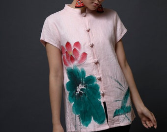 Hand Painted Blouse Women  Peony Short Sleeve Fashion Shirt for Summer Autumn