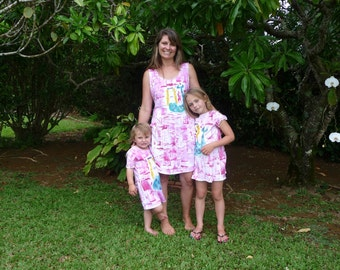 Matching dresses - hawaii  hand painted - mother daughter outfit -  mother daughter dress - matching outfits - plus size dress