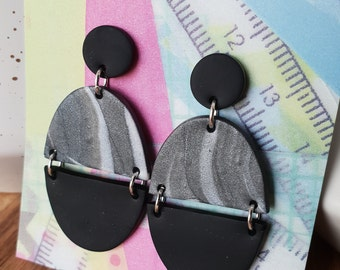 Grey marble and black dangle
