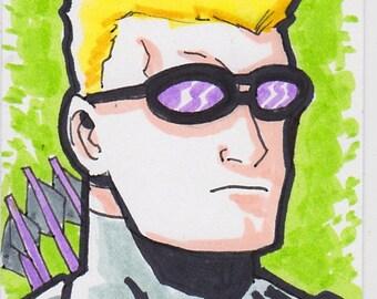 "Hawkeye Avengers 2 1/2"" x 3 1/2"" artist trading card ACEO"