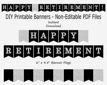Happy Retirement Banner - Black & Silver Sparkle - PRINTABLE - INSTANT DOWNLOAD