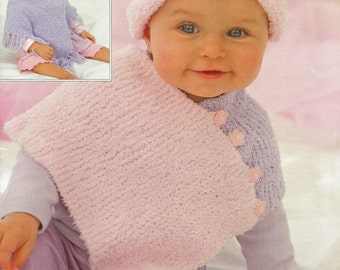 Instant Download - PDF- Lovely Easy Poncho & Hat Knitted Pattern (61)