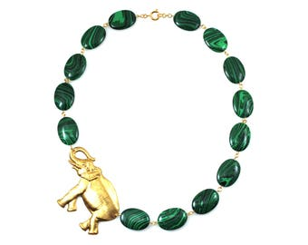 Green Statement Necklace, Animal Jewelry, Green Necklace, Elephant Necklace, Elephant Jewelry, Animal Necklace, Elephants, Unique Jewelry