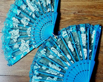 Ladies Hand Fan in Turquoise with White and gold tulle top six available ideal for bridesmaids or party