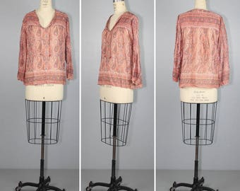 india / cotton gauze / bohemian / ROSE QUARTZ vintage 1970s blouse