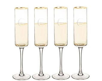 Personalized 8 oz. Gold Rim Contemporary Champagne Flutes (Set of 2 or 4)