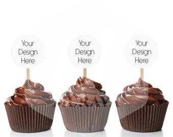 Cupcake Topper Mockup. Party Circles Mockup, Isolated Cupcake mockup