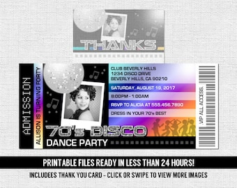 DISCO TICKET INVITATIONS 70's Dance Birthday Party + Free Thank You Card - (print your own) Personalized Printable Files - Any Age - 70s