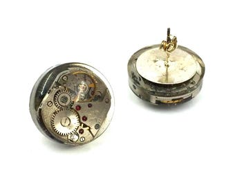 Steampunk resin earrings and watch movement