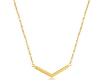 V Necklace Gold, Gold V Necklace, V shaped necklace, V Pendant Necklace