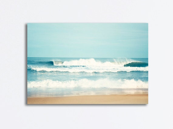 Large Ocean Canvas Seascape Wall Art Sea Blue Waves Beach
