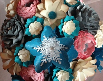 Paper Flower Bouquet, Winter Wedding Bouquet