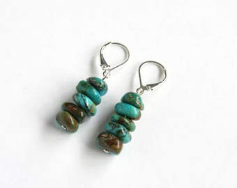 Kingman Turquoise Earrings Turquoise Chips New Boulder Turquoise Jewelry Natural Stone Beads Sterling Silver Argentium Earrings #17557