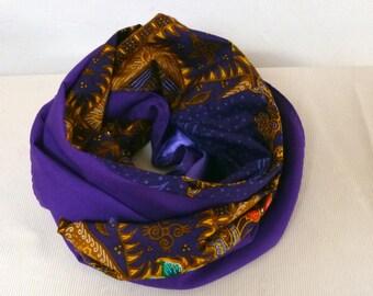 snood neck twice, cotton fabric; Batik