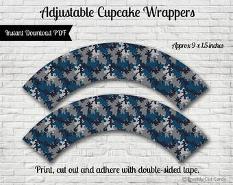 Navy and Gray Camouflage Cupcake Wrappers - Instant Download