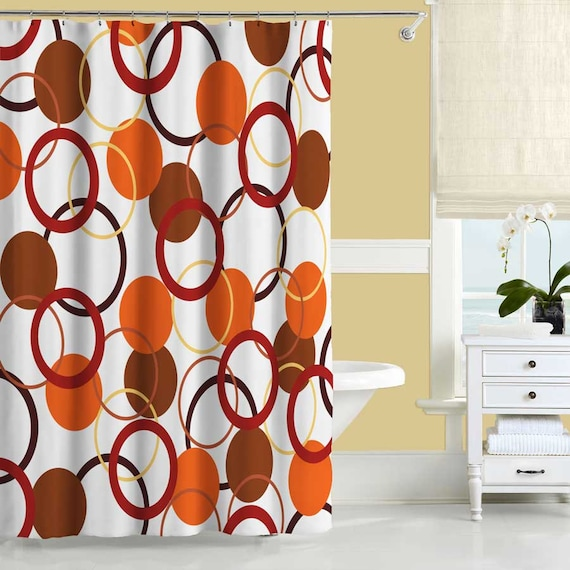 20 Ways To Decorate With Orange And Yellow: Orange Shower Curtain Yellow And Red Bathroom Decor Bath
