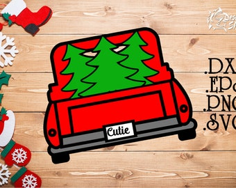 Christmas Tree Truck SVG/DXF/PNG