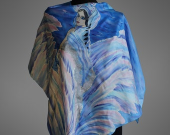 Hand painted silk scarf. Swan Princess scarf. Silk shawl scarf. Fairy tale silk scarf. Square silk scarf. Art to wear. Ready to ship.