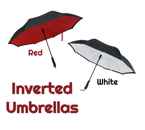 Inverted Umbrella in Red or White with Black Outer Shell