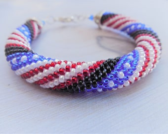 USA Flag Multi-Color Red White and Blue Beaded Rope Bracelet, Crochet Bead Bracelet, Gift for Her