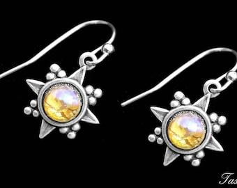 Drop Fashion Earrings, Dragons Breath, Art Deco Inspired, Vintage Minimalist Dangle