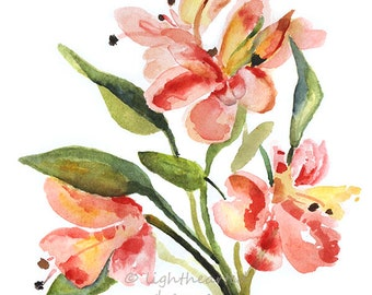 Alstroemeria Flower Art Print, Watercolor Flowers, Office Painting Print, Pink Red flowers Abstract art, office decor, office Wall Art