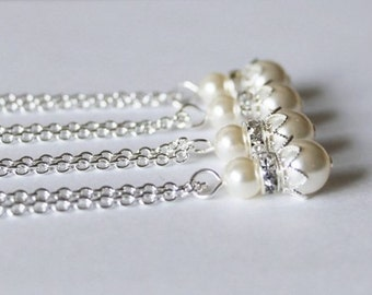 5 set bridesmaids floating pearl necklaces, set of 5 Ivory pearl necklaces, Swarovski pearl necklaces, Flower girl, Nautical, Navy and white