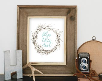 Bless This Nest watercolor art print digital download