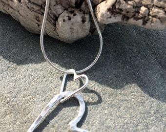 Solid Silver Hearts Necklace