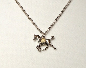 Horse Charm Necklace with Picture Jasper Stone Dangle, Horse Necklace, Charm Necklace