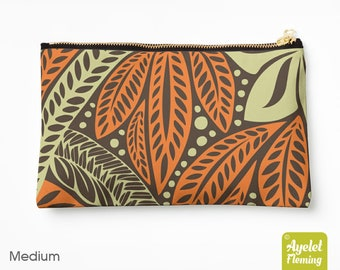 Hawaiian floral tribal orange brown accessories zip pouch (small / medium / large)