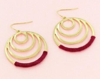 Goldtone Burgundy Earrings Circle Hoop Earrings