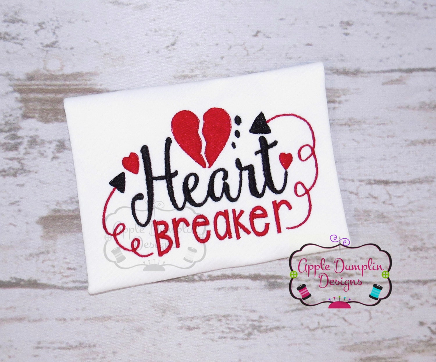 Heart Breaker Embroidery Design Valentine Embroidery