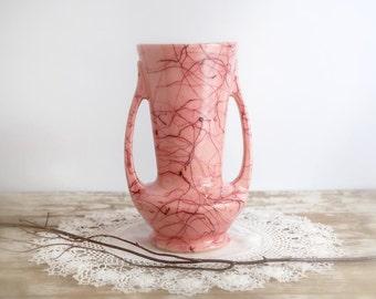 Vintage Pink Brush McCoy Vase, Mid Century Modern, Pink McCoy Vase, Squiggles, Retro Pink McCoy Vase, 1950s