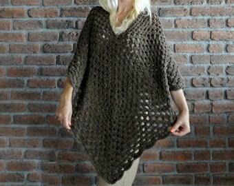Poncho / Plus Size Crochet Poncho - Plus Size Clothing - Over Size Tunic - Maternity Clothes - Oversized Cardigan - Oversized Poncho