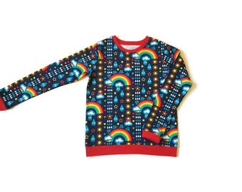 Childrens Rainbow top, Organic baby clothes, Rainbow  print, Childrens T shirts, Girls T shirt, Boys top, Long sleeve Tee, Rainbow gift