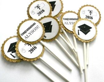 12 Gold Graduation Cupcake Toppers, 2018, Grad Party, Congratulations Toppers, Gold Theme, Graduation Theme, Grad Cap, 2018 Grad