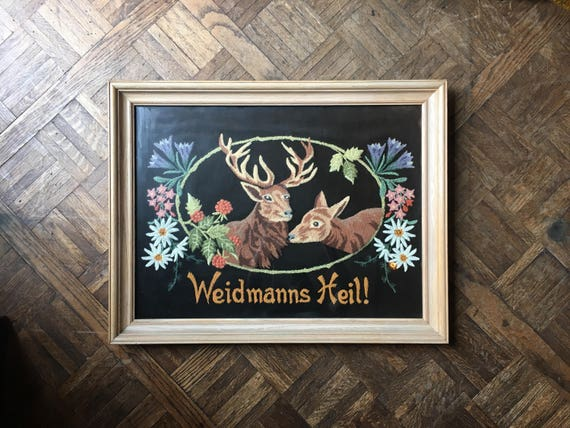 Vintage Embroidery On Velvet, Weidmann Heil German Good Hunting Embroidered Picture, Framed Deer Buck Flowers Hunting Folk Art