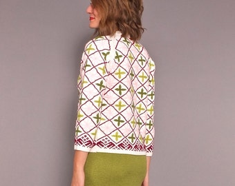 1960s Vintage Hand Embroidered Folkloric Mod Floral Sweater S M