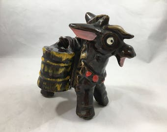 Vintage Midcentury Black and Gold Donkey With Barrels Salt and Pepper Shakers Japan