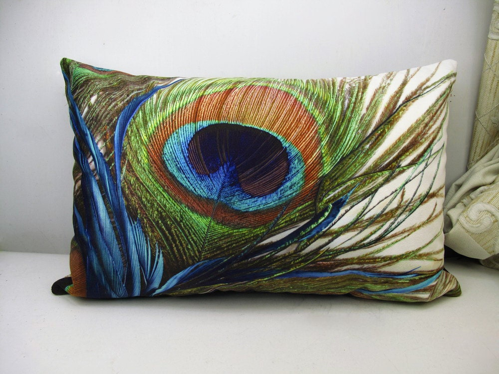 PROMOTION Velvet Pillow Cover Peacock Feather Pillowcase
