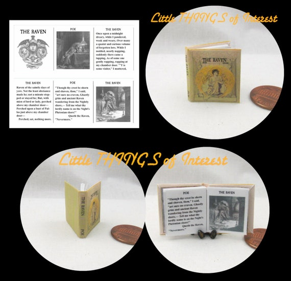 THE RAVEN by Edgar Allan POE Miniature Book Dollhouse 1:12 Scale Readable Illustrated Book