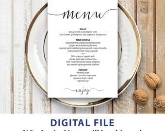 Wedding menu template 5x7 Rustic wedding menu printable Instant downolad Editable menu cards Kraft menu cards Minimalist Modern