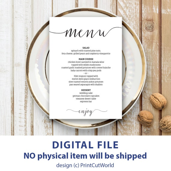 wedding menu template 5x7 rustic wedding menu printable