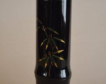 Vase, black lacquered flower vase for ikebana, Japanese flower arrangement hana-ire