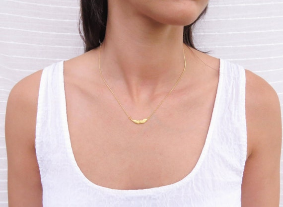 Gold Feather Leaf Necklace